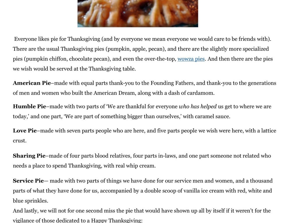 The Pies of Thanksgiving…