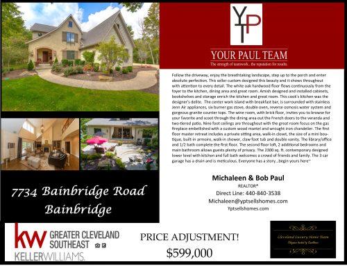 7734 Bainbridge Road – Bainbridge – Price Adjustment