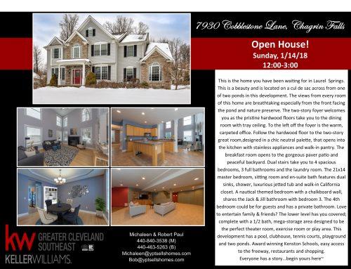 Open House! 7930 Cobblestone Lane, Chagrin Falls