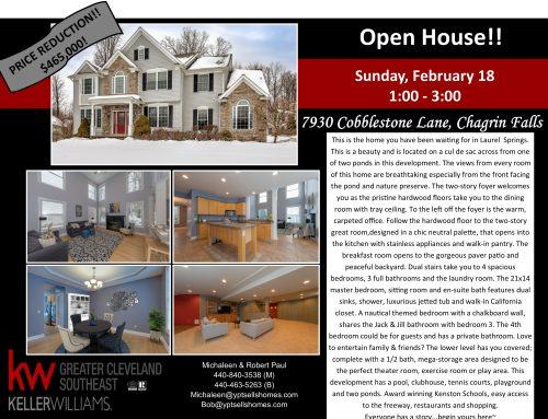 7930 Cobblestone Lane – NEW PRICE! Open House Tomorrow!