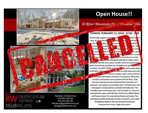 Open House Cancelled!!  – 10 River Mountain – Moreland Hills