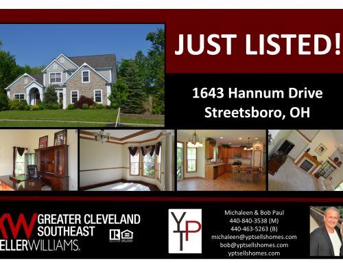 Just Listed!!  1643 Hannum Drive – Streetsboro