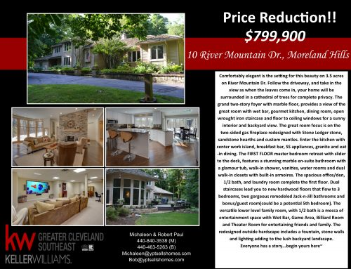 Price Reduction!! 10 River Mountain Drive – Moreland Hills!!