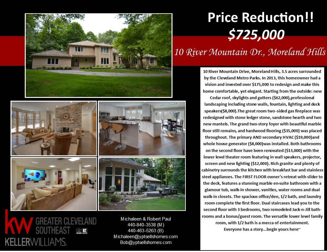 Price Reduction! – 10 River Mountain – Moreland Hills