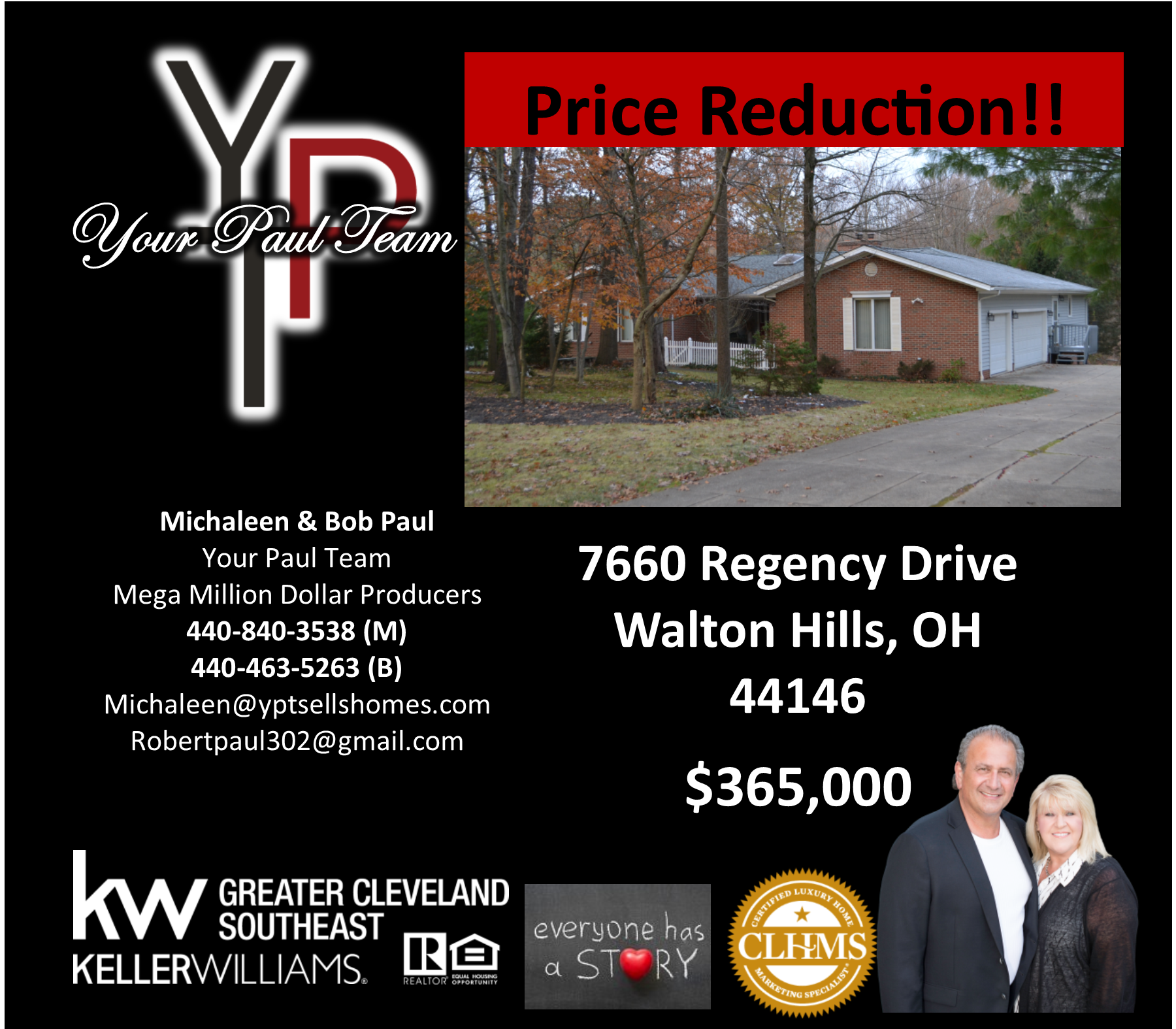 Price Reduction ~ 7660 Regency Drive ~ Walton Hills ~$365,000