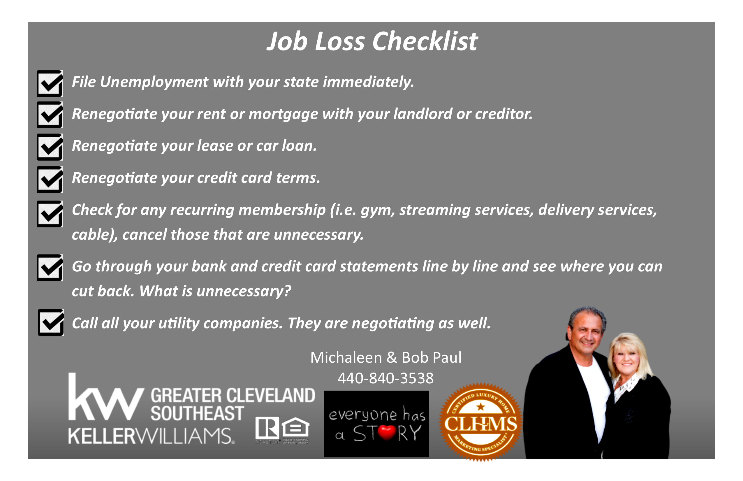 Job Loss Checklist…