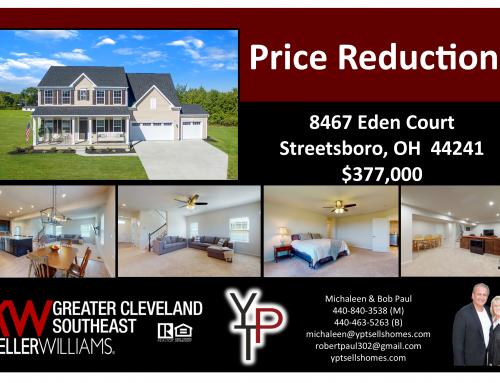 Price Reduction ~ 8467 Eden Court ~ Streetsboro